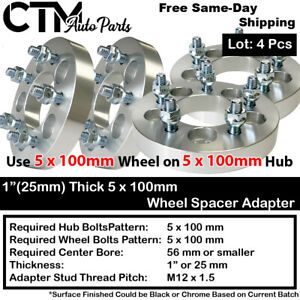"4PC 1"" THICK 5x100 TO 5x100 WHEEL ADAPTER SPACER FIT TOYOTA/LEXUS/SCIN/PONTIAC"