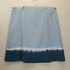Old Navy 20 Blue Skirt Ombre Tie Dyed A Line Below Knee Modest Church NEW NWT