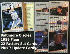 BALTIMORE ORIOLES 1989 Fleer 29-Card Team Set from Factory & Update Sets