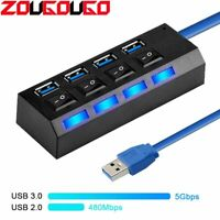 SB Hub 3.0 4/7 Port USB 2.0 Hub Splitter With ON/OFF Switch Multi USB High Speed