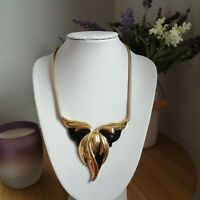 Retro Statement Black Gold Tone Chain Triangle Pendant Necklace Runway Mod Power