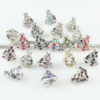 Wholesale Crystal Christmas X'mas Tree European Big Hole Charm Bead Fit Bracelet