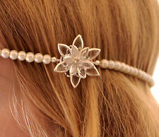 vintage/flapper/Great Gatsby/1920 style silver/crystal/glass pearl headband