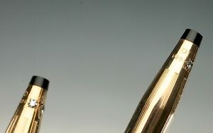 VINTAGE CROSS PEN AND PENCILS SET GOLD DIAMONDS ALL ORIGINAL!!!!! 14KT GF