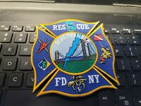 VINTAGE FDNY  PATCH--RESCUE 5     SIZE 4 X 4  INCHES--- SEE STORE