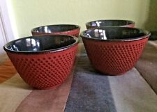 Set of 4 Iwachu Japanese Cast Iron Heavy Metal Teacups Red Hobnail Raised Dots