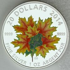 Canada 2014 $20 Maple Leaves Glow-in-the-Dark 1 oz. Pure Silver Color Proof Coin