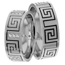 10K White Gold & Black Rhodium 0.36 Ctw Matching Diamond Wedding Ring Set 8mm
