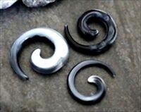 1-PAIR Acrylic Black White Gray Swirl Marble Spiral Ear Taper Gauges Tribal RW