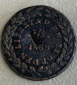 Scarce 1866 Mexico Copper Private State Coin 1/4 Real Durango Cuartilla World $1