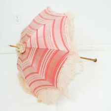Antique Victorian Silk Parasol Umbrella Pink Red Silk Foldable Handle Carriage