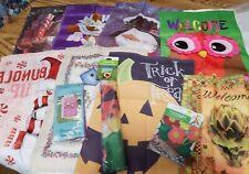 Lot of 11 small Garden Flags decor fall  Christmas Halloween owl birdhouse