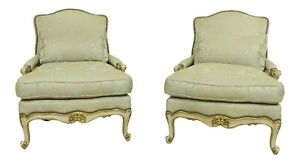 32994EC: Pair EJ VICTOR French Style Upholstered Bergere Chairs