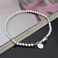 Women 925 Sterling Silver Plated 4MM Beads Bangle Chain Charm Bracelet Jewelry