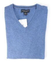 NEW $198 BLOOMINGDALE'S DUSTY SKY BLUE 2 PLY 100% CASHMERE V-NECK SWEATER 2XL