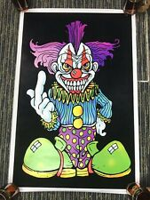 """Vtg 2001 Evil Scary Clown Thinking Of You Flocked Blacklight 35""""x23"""" Poster USA"""