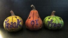 Kirkland's Trick Or Treat Pumpkin Set Of 3 Ceramic With Glitter Halloween NEW