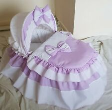 LILAC AND WHITE MOSES BASKET COVER SET BY BABYFANZONE