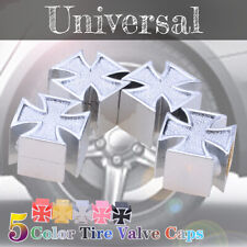 4pcs Silver Iron Cross Car Auto Wheel Tire Air Stem Valve Caps Bike Motorcycle