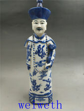 Old Chinese Blue and white Porcelain Handwork Carved Archaic Officials Statue