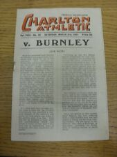03/03/1951 Charlton Athletic v Burnley  (light fold, rusty staple/marks, torn ar