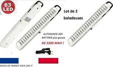 2 X LAMPE BALADEUSE leds PUISSANTE RECHARGEABLE A 63 LED BATTERIE 3200mah