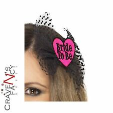 Bride To Be Hair Bow Pink Clip Veil Hen Night Party Fancy Dress Accessory