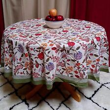 "Handmade Lively Floral Berry Print Cotton Tablecloth 70"" Round Multi Color"