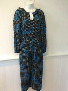 "Whistles black spotted, blue floral ""Kira"" jumpsuit size uk 6 bnwt"