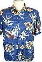 Joe Marlin Men's Large, Blue & Tan Hawaiian Shirt Tropical Palm Leaves & Floral