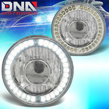 7x7 H6024 ROUND CHROME CRYSTAL HOUSING PROJECTOR LED HEADLAMPS+H4 LIGHT BULBS