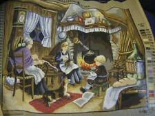 Collection D-Art Family Sitting In Front Of Fireplace Needlepoint Canvas #11552