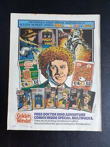 DOCTOR WHO GOLDEN WONDER COMICS VINTAGE ADVERT 28cm x 22cm approx.