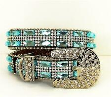 WESTERN COWGIRL BLING RHINESTONE BELT BUCKLE BOOT ANKLET JEWELRY STRAP BLUE