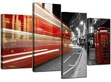 Large Red London Canvas Wall Art Pictures Bus Phone Box Prints XL 4127