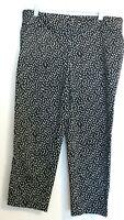 Ann Taylor Loft Women's size 8 flat front black white confetti capris crop pants