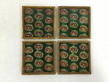 New listing Vintage Raggedy Ann Andy Coaster Set of 4 Wooden Gloss Top Green Red Doll Rare