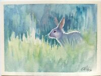 """Original watercolor Painting Rabbit Bunny wildlife Art listed by artist USA 8x6"""""""