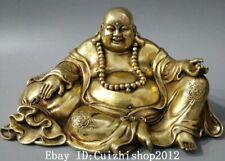"""11"""" Chinese Bronze Buddhism Smile Happy Laugh Maitreya Buddha Money Bag Statue"""