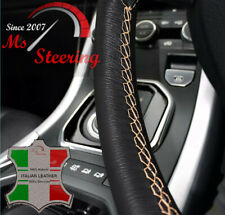 FOR FORD FOCUS 00-07 BLACK LEATHER STEERING WHEEL COVER, BEIGE STIT