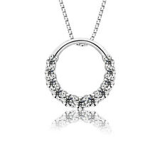 Women 925 Sterling Silver Plated Crystal Fashion Circle Choker Pendant Necklace