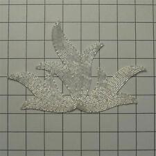 WHITE CHALK IRIS FLAME DESIGNER BEADED APPLIQUE 2426-Q