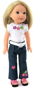 """Flowered Top, Belt & Jeans fits 14.5"""" American Girl Wellie Wishers Doll Clothes"""