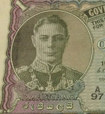 MY KGVI Collection>Ceylon ONE Rupee Banknote 1949 Extra very nice details!