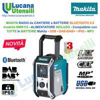 MAKITA RADIO da CANTIERE a BATTERIE modello DMR115 ALIMENTATORE INCLUSO DAB+ USB