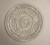 """Vintage Clear Glass Serving Platter Pinwheel and Star 12"""""""