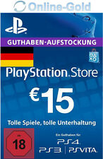 PSN Network 15 Euro Code €15 EUR PlayStation Store Guthaben PS3 PS4 PS Vita - DE