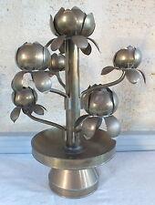 chandelier bougeoir 7 bougies laiton travaillé arbre fleurs style Jansen