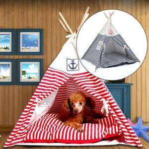 PawHut Portable Pet Teepee Tent Foldable Cat Bed Dog House Washable Cushion