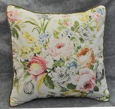 "Pillow made w Ralph Lauren Home Lake Pastel Floral Cotton Fabric 18"" trim cord"